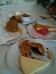 A selection of desserts at St. John. The Eccles cake with Lancashire cheese was our favorite.