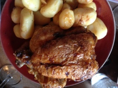 Rotisserie chicken and potatoes from the Marché Bastille.