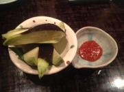 Raw eggplant at Yakitori Akira